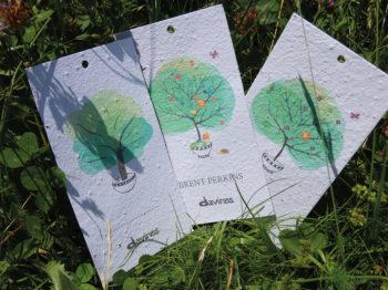 Badge con semi di fiori di campo