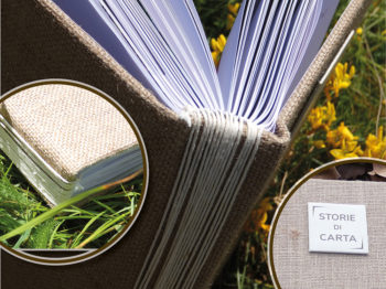 Volume rilegato in spago di bambù, lino e seta